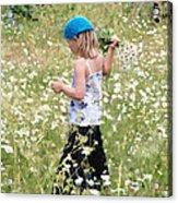 Picking Daisies Acrylic Print