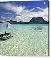 Picnic Table And Umbrella In Clear Lagoon Acrylic Print