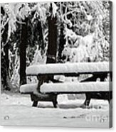Picnic Table In The Snow Acrylic Print