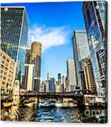 Picture Of Chicago River Skyline At Clark Street Bridge Acrylic Print