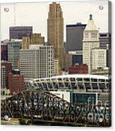 Picture Of Cincinnati Skyline Office Buildings  Acrylic Print by Paul Velgos