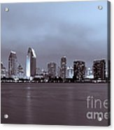 Picture Of San Diego Skyline At Night Acrylic Print by Paul Velgos