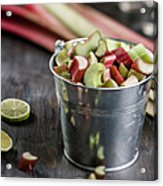 Pieces Of Rhubarb In Metal Bucket And Acrylic Print