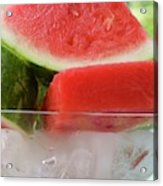 Pieces Of Watermelon In A Bowl Of Ice Cubes Acrylic Print