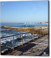 Pier And Promenade By The Atlantic Ocean In Cascais Acrylic Print
