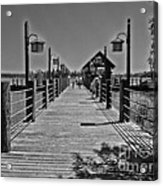 Pier At Fort Wilderness In Black And White Walt Disney World Acrylic Print