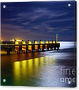 Pier At Night Acrylic Print by Carlos Caetano