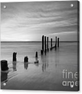 Pier Into The Past Black And White Acrylic Print