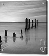 Pier Into The Past Bw 16x9 Acrylic Print