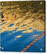 Pier Reflection And Rusty Chain Acrylic Print