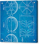 Pierce Basketball Patent Art 1929 Blueprint Acrylic Print