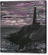 Pigeon Lighthouse Impasto Sunset Monochromatic Acrylic Print