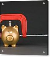 Piggy Bank Being Squeezed Acrylic Print