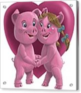 Pigs In Love Acrylic Print