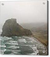 Piha In Nz Surf On South Piha Beach And Lion Rock Acrylic Print