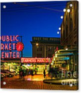 Pike Place Market Acrylic Print by Inge Johnsson