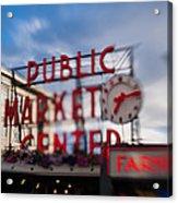 Pike Place Public Market Neon Sign Acrylic Print