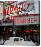 Pike Place Publice Market Neon Sign And Limo Acrylic Print