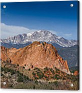 Pikes Peak Behind Garden Of The Gods Acrylic Print by Ernie Echols