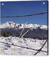 Pikes Peak Through The Fence Acrylic Print