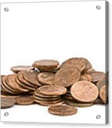 Pile Of American Pennies On White Background Acrylic Print
