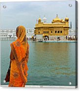 Pilgrim In Golden Temple Amritsar, India Acrylic Print