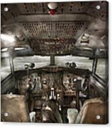 Pilot - Boeing 707  - Cockpit - We Need A Pilot Or Two Acrylic Print by Mike Savad