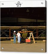 Pilot Works On Antique Plane In Hood Acrylic Print