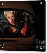 Pin Up Girl In A Classic Rat Rod Car Acrylic Print