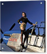 Pin-up Girl Standing On The Wing Acrylic Print