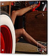 Pin Up Legs In Red Heels  Acrylic Print