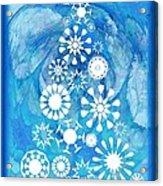 Pine Tree Snowflakes - Baby Blue Acrylic Print