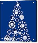 Pine Tree Snowflakes - Dark Blue Acrylic Print