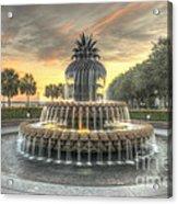 Pineapple Fountain Sunset Acrylic Print