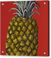 Pineapple On Red Acrylic Print