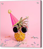 Pineapple Wearing A Party Hat And Acrylic Print