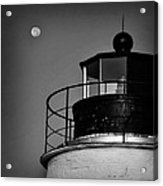 Piney Point Lighthouse And Moon In Black And White Acrylic Print