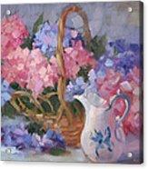 Pink And Blue Hydrangeas Acrylic Print