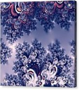 Pink And Blue Morning Frost Fractal Acrylic Print