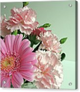 Pink And Green Floral Acrylic Print