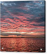 Pink And Grey At Sea - Sunrise Panorama  Acrylic Print