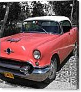 Pink And White Cuban Taxi Acrylic Print