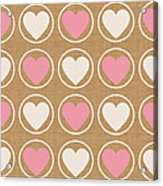 Pink And White Hearts Acrylic Print