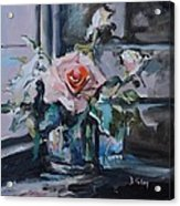 Pink And White Roses In Silver Mug Acrylic Print