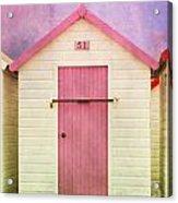 Pink Beach Hut Acrylic Print