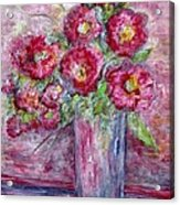Pink Beauties In A Blue Crystal Vase Acrylic Print