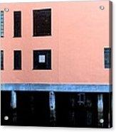 Pink Building On The Wharf Acrylic Print