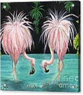 Pink Flamingo Booty Tropical Birds Art Cathy Peek Acrylic Print