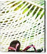 Pink Flip Flops On Backyard Rope Hammock Vintage Scratched Style Acrylic Print