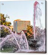 Pink Fountain For Breast Cancer Acrylic Print by Terri Morris